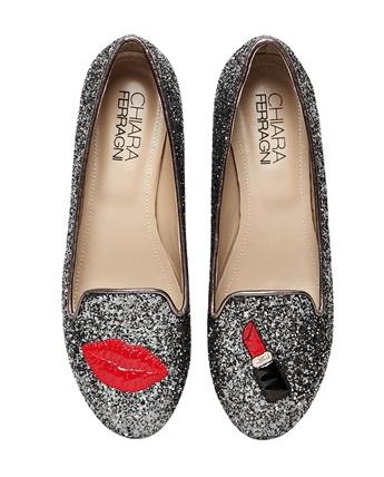 Chia Ferragni Lipstick Glitter Loafers $211