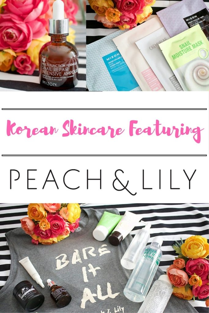 Korean Skincare Products from Peach And Lilly on a t-shirt and flowers