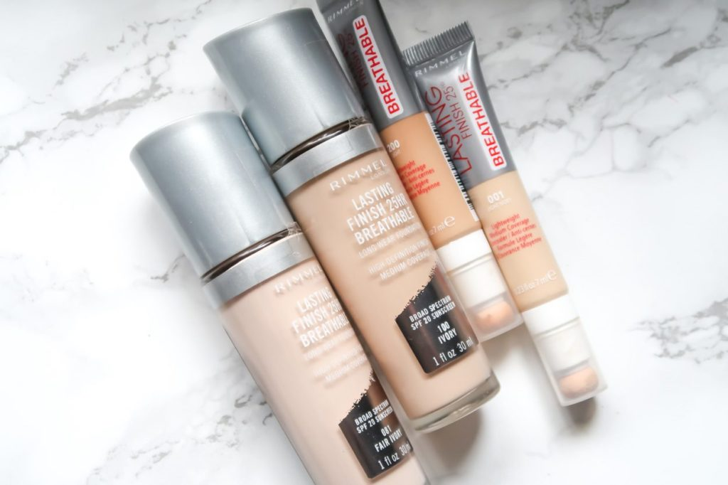 Rimmel London Lasting Finish Breathable Foundation and Concealer on marble
