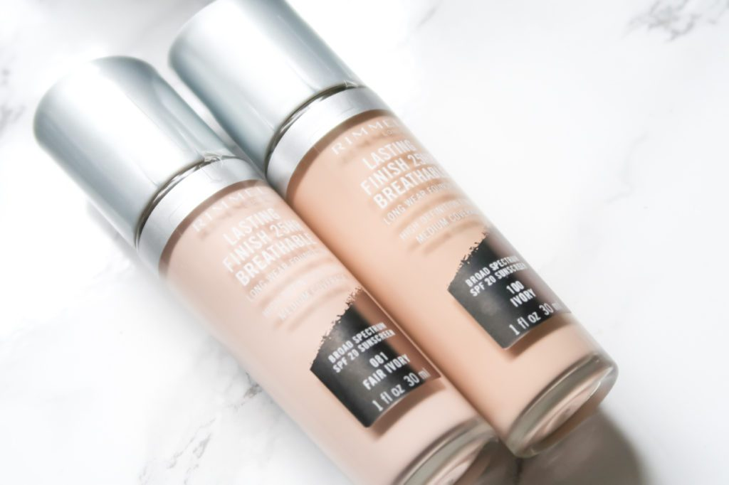 Rimmel London Lasting Finish Breathable Foundation and Concealer on marble counter