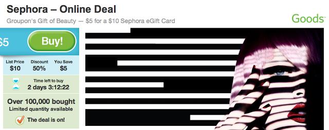 $5 for $10 Sephora eGift Card on Groupon