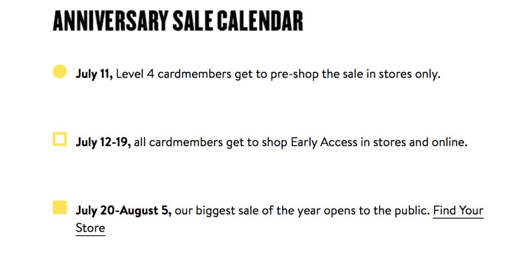 Nordstrom Anniversary Sale Schedule