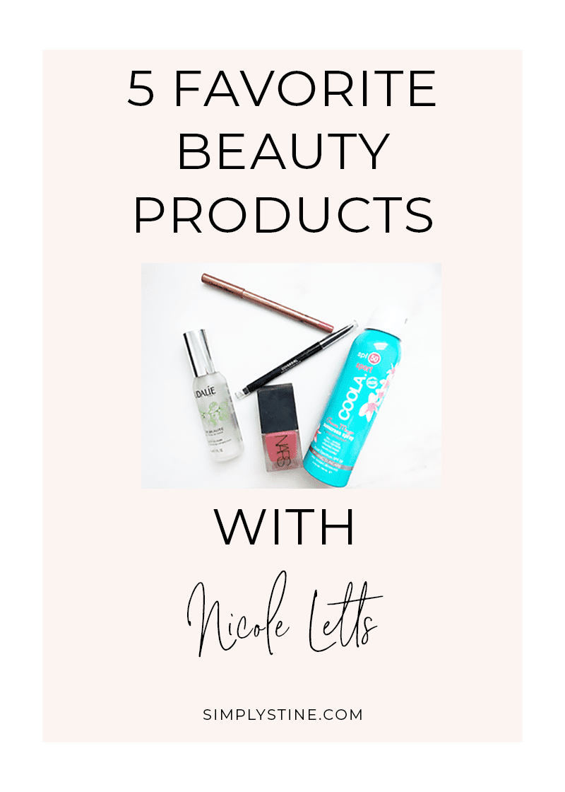 Nicole shares her five favorite beauty products. A mix of high-end and drugstore makeup and skincare products. #beauty #beautyblogger #makeup #skincare