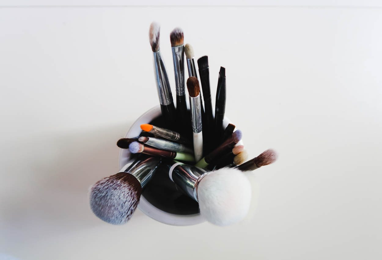 Makeup Brushes in a Container