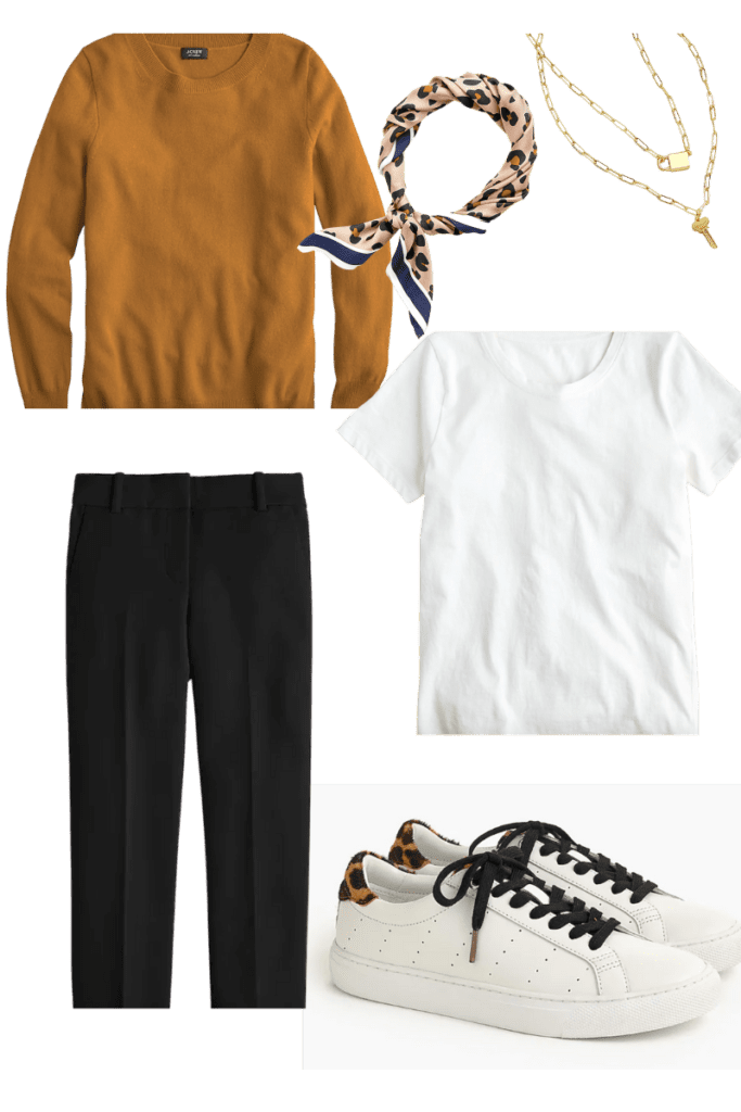 Sweater with pants and t shirt with sneakers