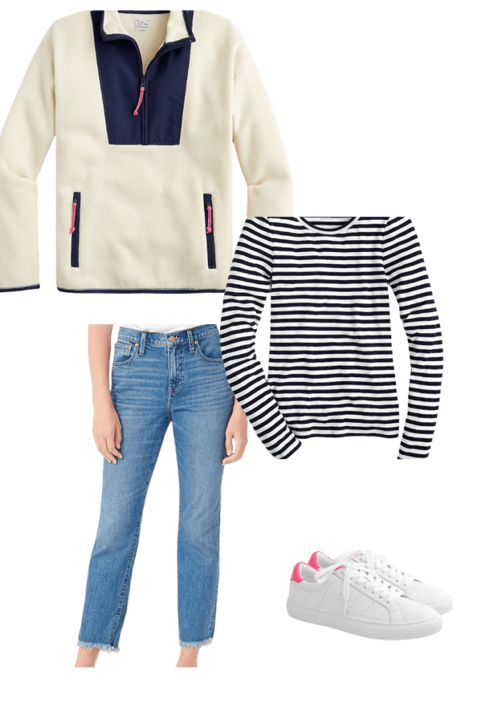 Fleece, striped shirt, jeans and sneakers