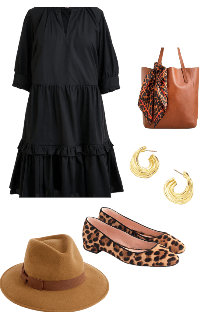Dress and tote bag with shoes