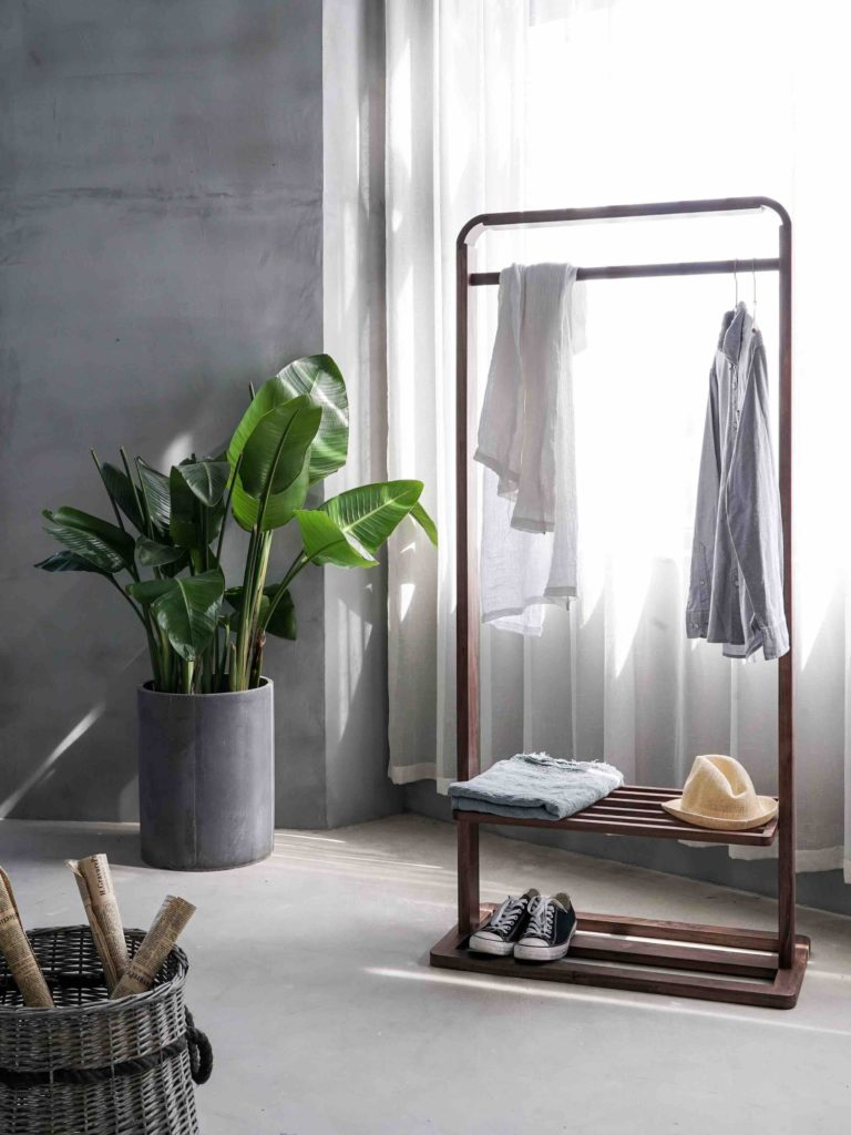 Clothing rack with accessories and a plant