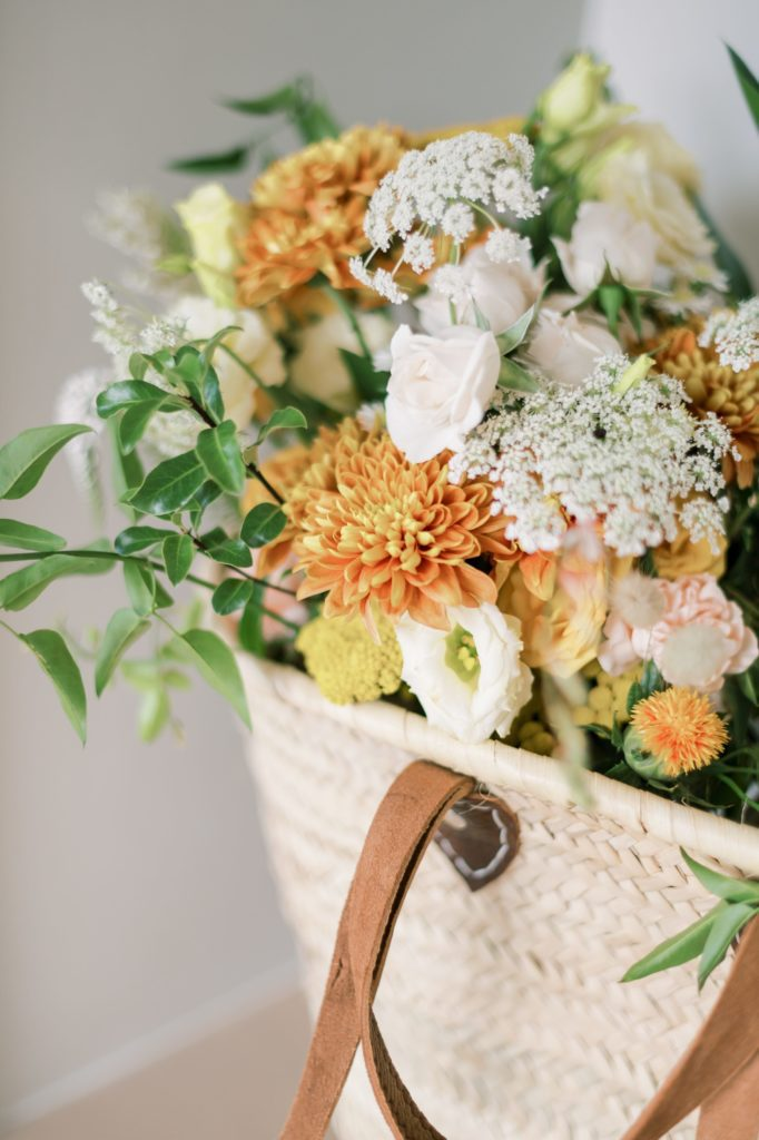 Monday Chit-Chat: 3/15/21  Straw bag holding spring assortment of flowers